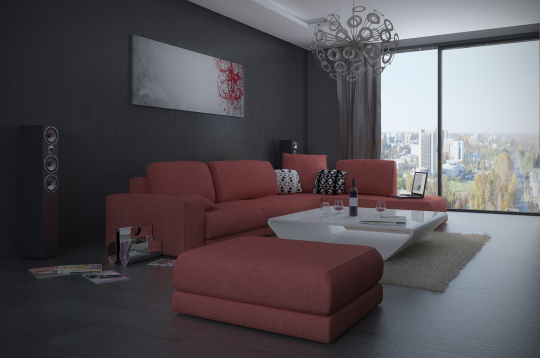 Outstanding Red Living Room Interior Design 1100 x 730 · 183 kB · jpeg